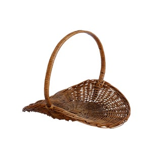 French Flower Gathering Wicker Basket For Sale
