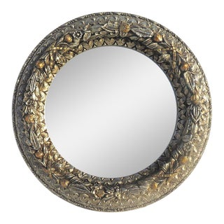 Baroque Carved Large Round Circle Mirror For Sale