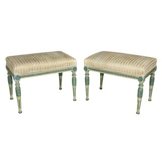 Swedish Neoclassic Painted Benches - a Pair For Sale