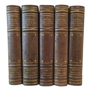Vintage Leatherbound Hardcover Books - Set of 5