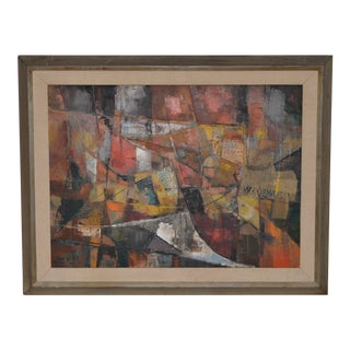 Jean Kalisch (California / Japan) Original Abstract Collage With Oil C.1957 For Sale
