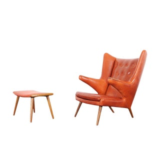 "Ap-19 ""Papa Bear"" Chair and Ottoman in the Manner of Hans J. Wegner - a Pair For Sale"