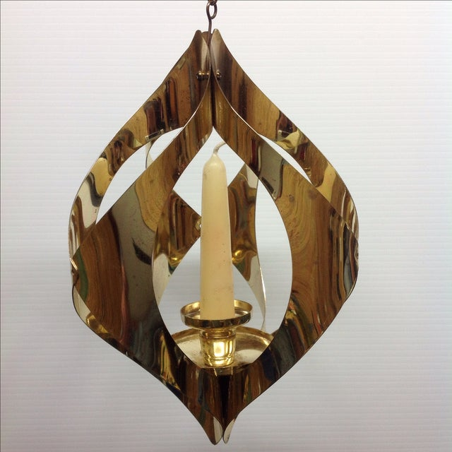 Hollywood Regency Brass Candle Pendant Light - Image 2 of 6