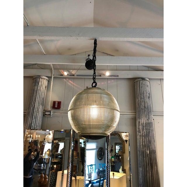 Parisian Holophane Globe Pendant Chandelier For Sale In Philadelphia - Image 6 of 13