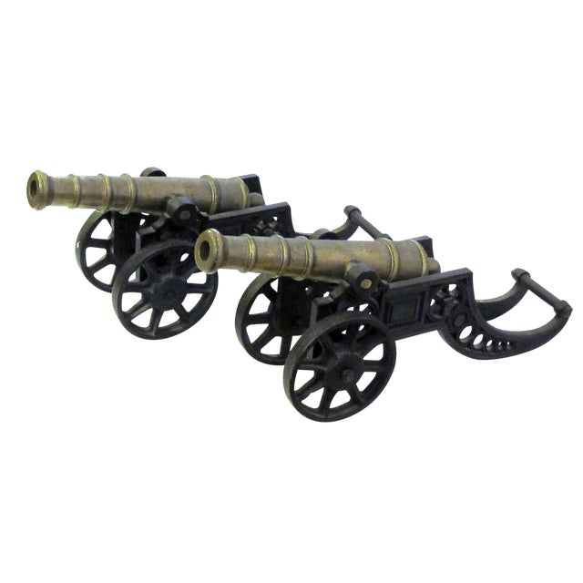 English Victorian Brass Ornamental Signal Cannons on Cast Iron Carriages - a Pair For Sale
