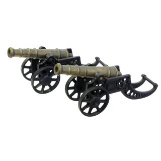 Pair of English Victorian Brass Ornamental Signal Cannons on Cast Iron Carriages For Sale
