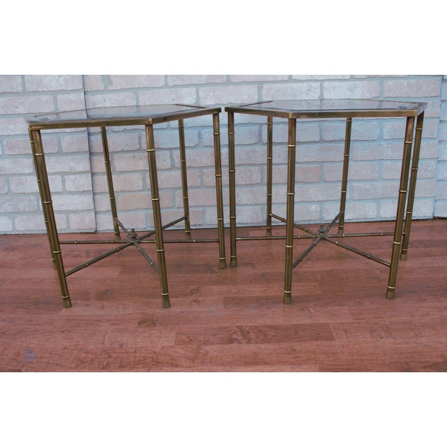 1970s Mid Century Modern Mastercraft Faux Bamboo Side Tables - A Pair For Sale In Chicago - Image 6 of 10