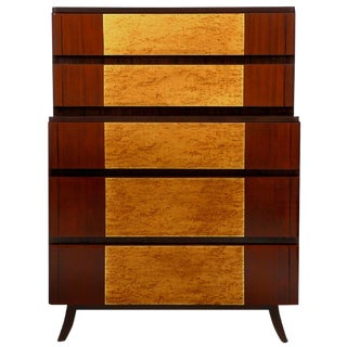 Birdseye Maple and Mahogany Highboy by R-Way For Sale