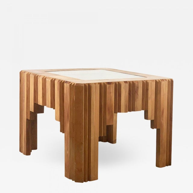 Important wooden coffee table by paul follot from 1929 in wood and glass