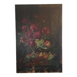 Large 19th Century Still Life Oil on Canvas For Sale