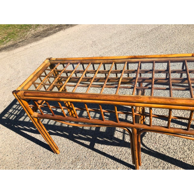 1970s Boho Chic Rattan Console For Sale - Image 4 of 9