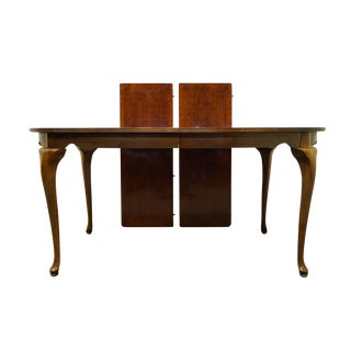"""20th Century Traditional American Drew Cherry Grove Collection 98"""" Oval Bookmatched Banded Dining Table For Sale"""