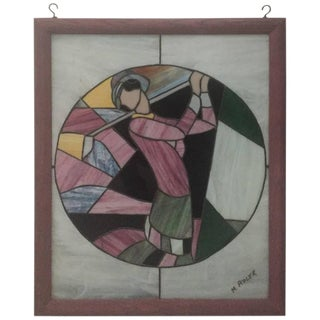 Signed Art Deco Stained Glass Woman Golfer For Sale