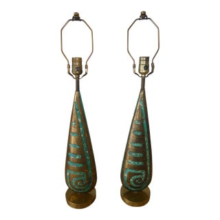 Pepe Mendoza Bronze and Turquoise Stone Inlaid Lamps - a Pair For Sale