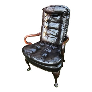 Gentleman's Study Vintage Leather Chair For Sale
