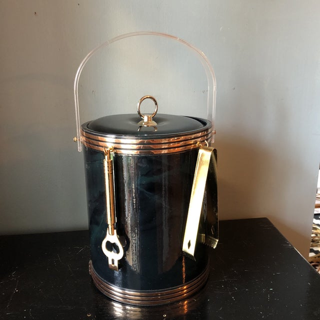 Gorgeous vintage black and green marbled champagne bucket with matching brass ice tongs and can opener. Perfect for a bar...