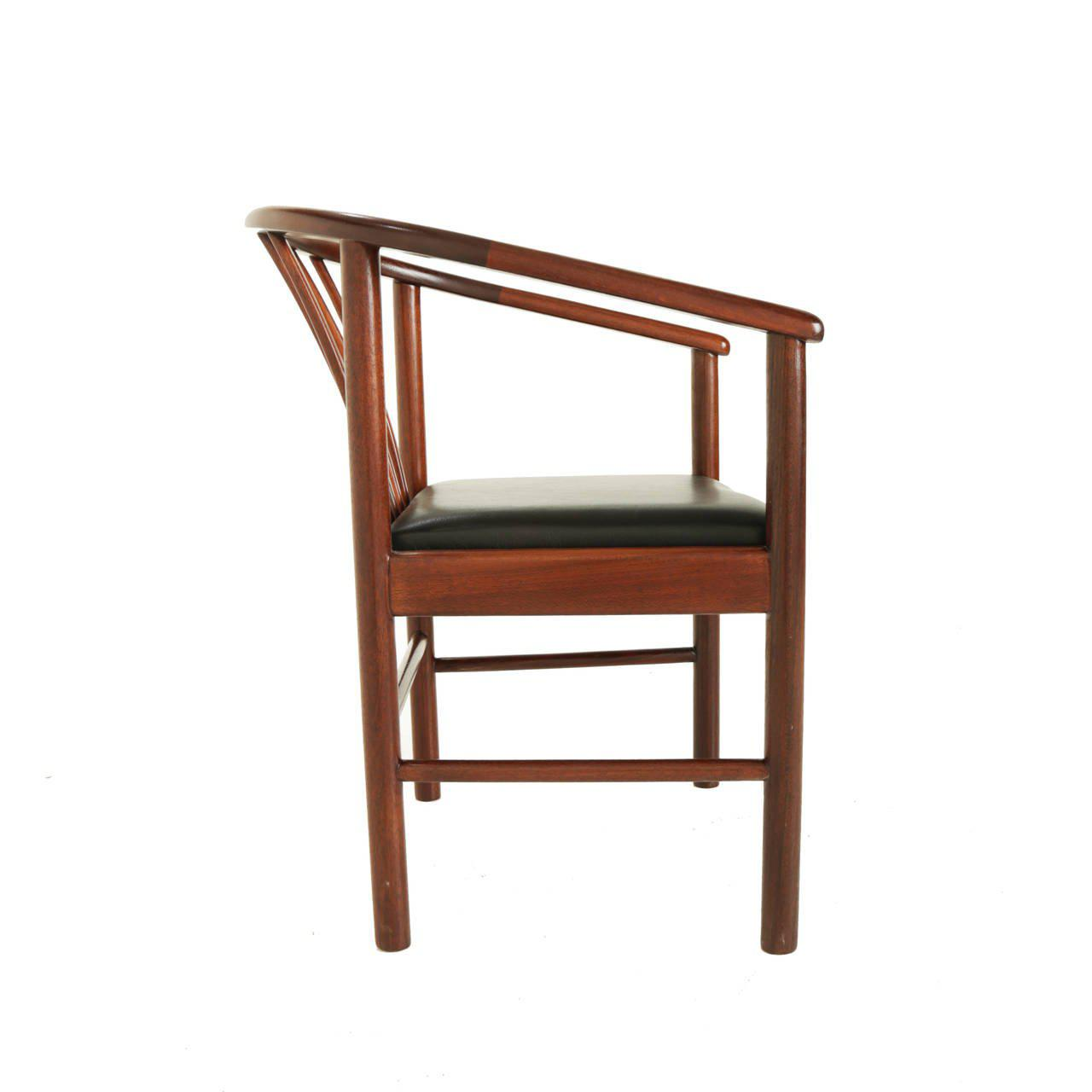 Mid Century Modern Leather And Brazilian Hardwood Curved Back Side Chair    Image 3 Of