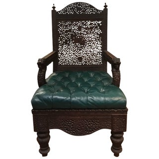 Anglo Indian 19th Century Carved Armchair For Sale