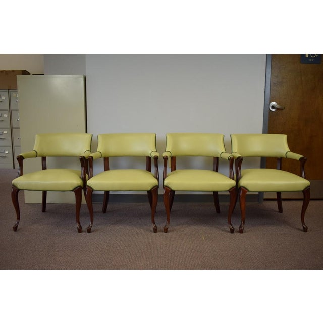 Elegant Set of (4) Celedon Green Leather W Hunter Green Piping Upholstered Bergere Chairs - Image 2 of 10