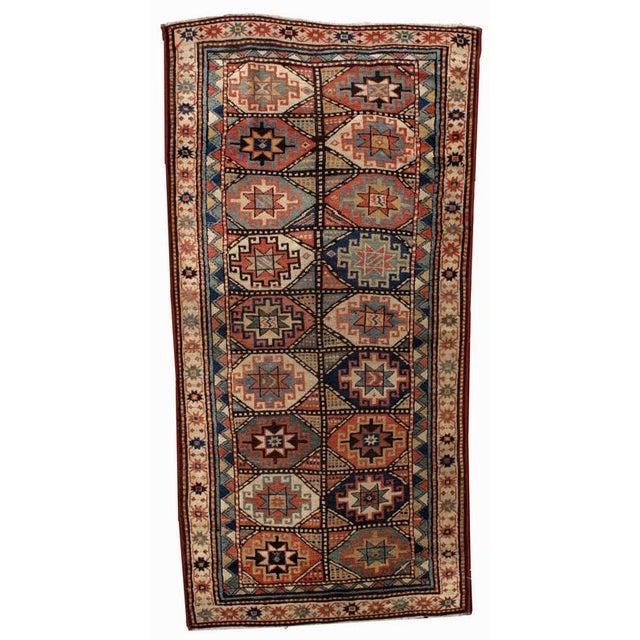 1880s Antique Hand Made Caucasian Kazak Mohan Rug- 3′10″ × 7′9″ For Sale