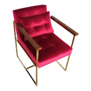 Brass, Velvet & Walnut Pixie Chair For Sale