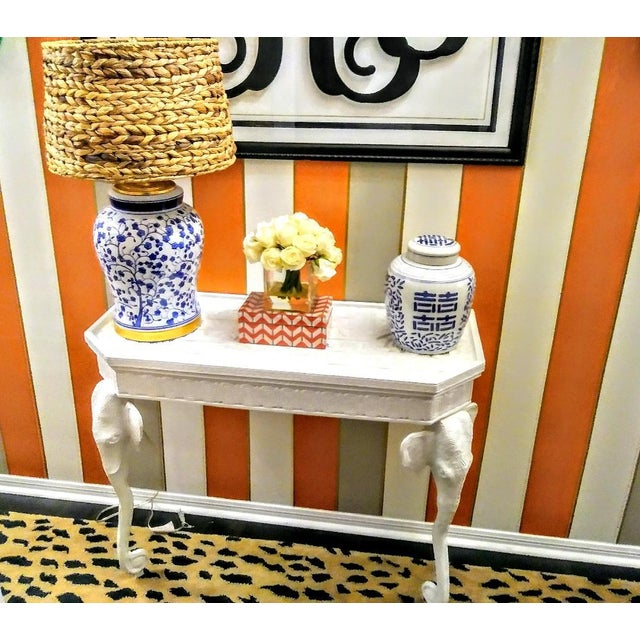 Gampel-Stoll Gampel-Stoll Style Demi-Lune White Gloss Elephant Palm Beach Regency Hall Half Side Table For Sale - Image 4 of 9