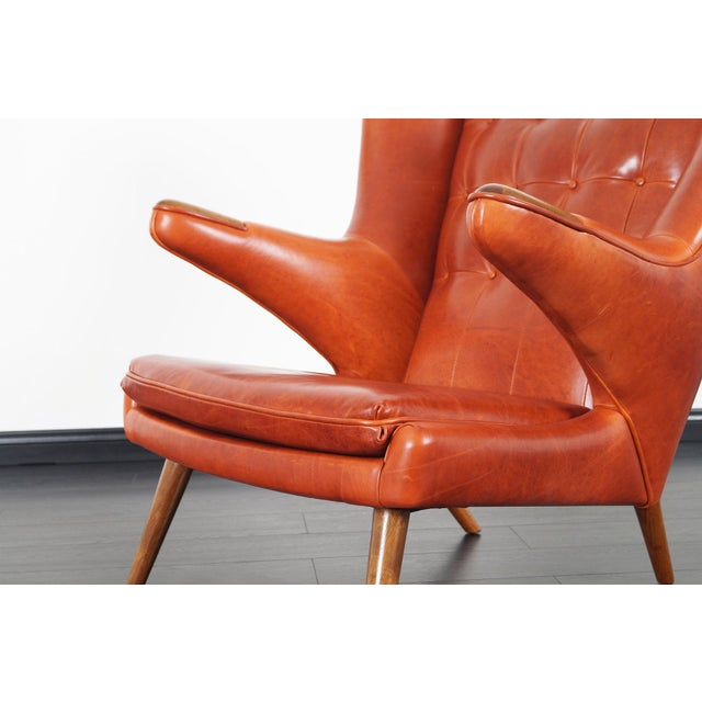 "1950s Ap-19 ""Papa Bear"" Chair and Ottoman in the Manner of Hans J. Wegner - a Pair For Sale - Image 5 of 12"