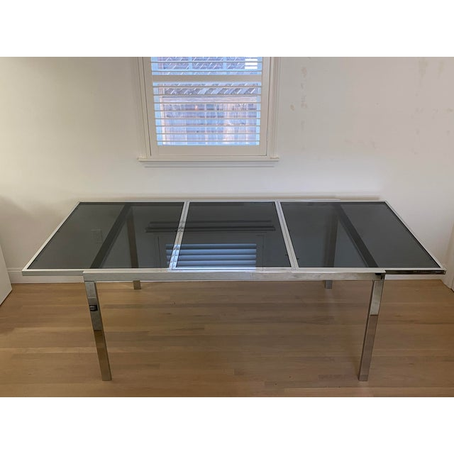 1970's Chrome and Smoked Glass Extension Dining Table by Milo Baughman For Sale - Image 13 of 13