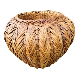 Vintage Boho Chic Large Hand Woven Rattan Basket For Sale