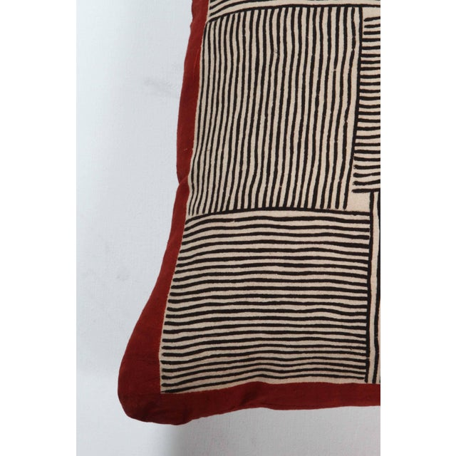 Contemporary Gopal Indian Cotton Block Print Pillow in Black, White and Red For Sale - Image 3 of 5
