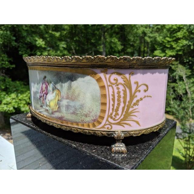 Traditional 1800s Sevres-Style Rose Pompadour Porcelain Gilded Bronze Trim Oval Cachepot For Sale - Image 3 of 13