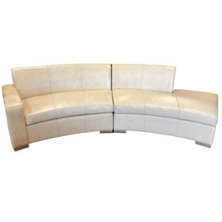 Modern Cream Leather Curved Sectional