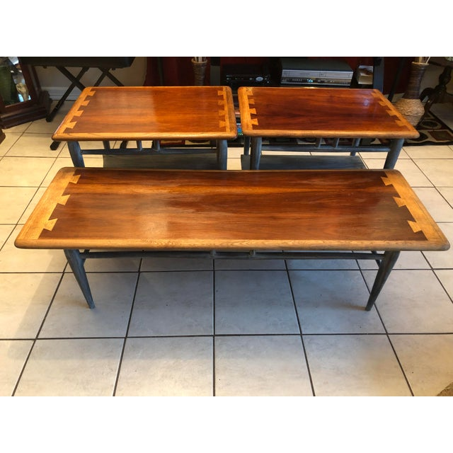 Wood 1900s Mid-Century Modern Lane Acclaim Dovetail Coffee and Side Tables - 3 Piece Set For Sale - Image 7 of 13