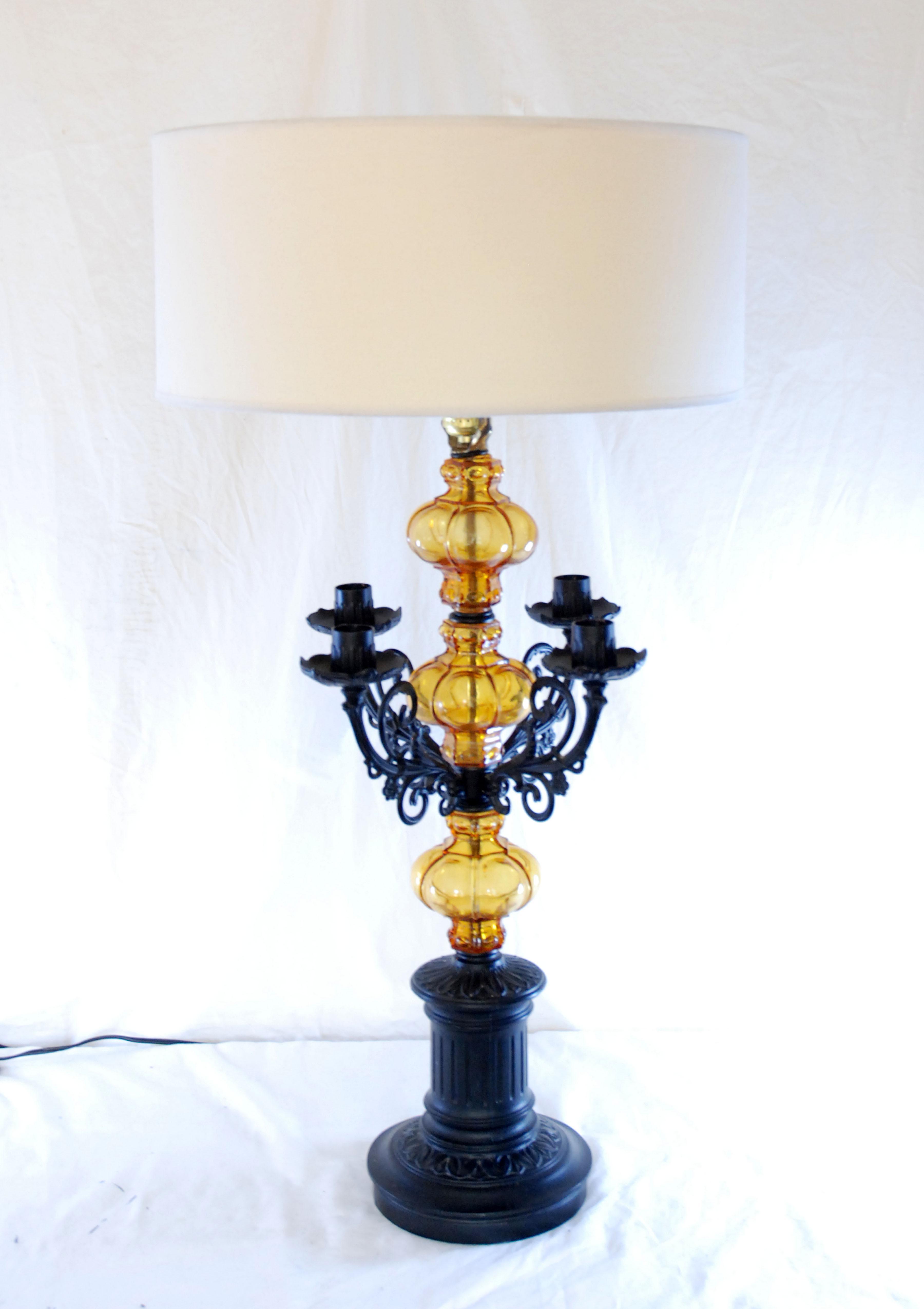 Mid Century Amber Glass Spanish Style Table Lamp Chairish