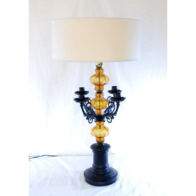 Mid Century Amber Glass Spanish Style Table Lamp Chairish