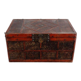 Chinese Caned and Lacquered Trunk For Sale