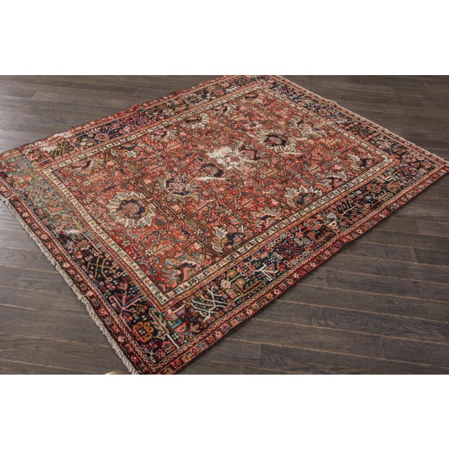 "Textile Apadana Antique Persian Heriz Rug - 4'10"" X 6' For Sale - Image 7 of 7"