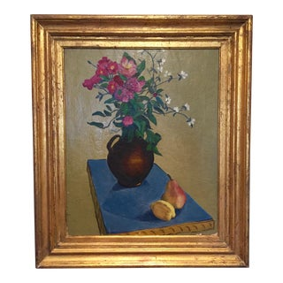 1940s Vintage Original Oil Still Life with Flowers & Fruit Framed Painting For Sale
