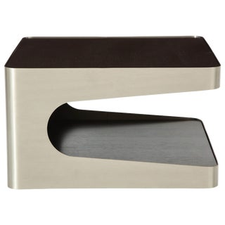 1980s Modern Brushed Steel and Oak Side Table For Sale