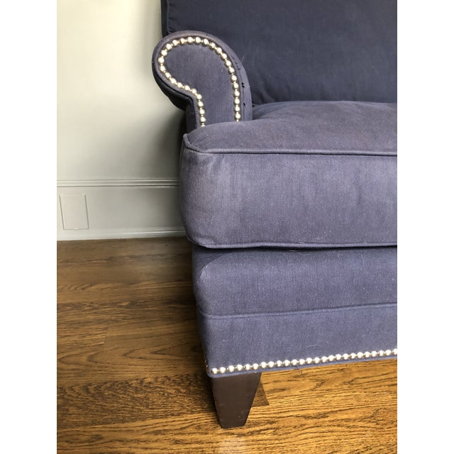Beautiful Lee Industries Sofas. Navy Blue Heavy Cotton fabric. Polished Nickel nailhead trim. Fabric is faded in spots and...