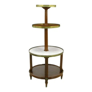 French Walnut & Carrera Marble Round Four-Tier Serving Table For Sale