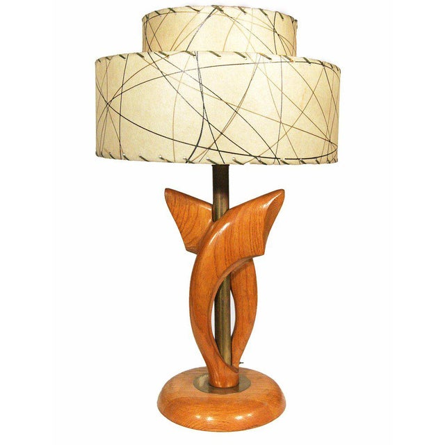 Yasha Heifetz Free-Form Oak and Brass Table Lamps, Pair - Image 2 of 7