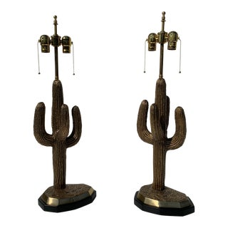 Brass Saguaro Cactus Lamps - a Pair For Sale