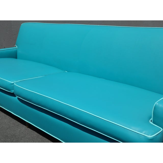 Mid-Century Turquoise Vinyl Sofa - Image 5 of 11