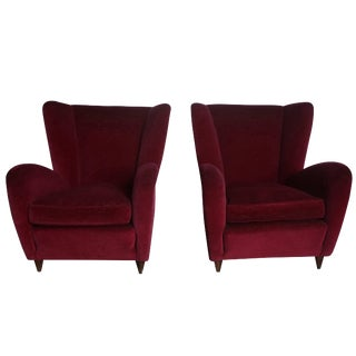 20th Century Italian Wingback Lounge Chairs by Paolo Buffa - a Pair For Sale