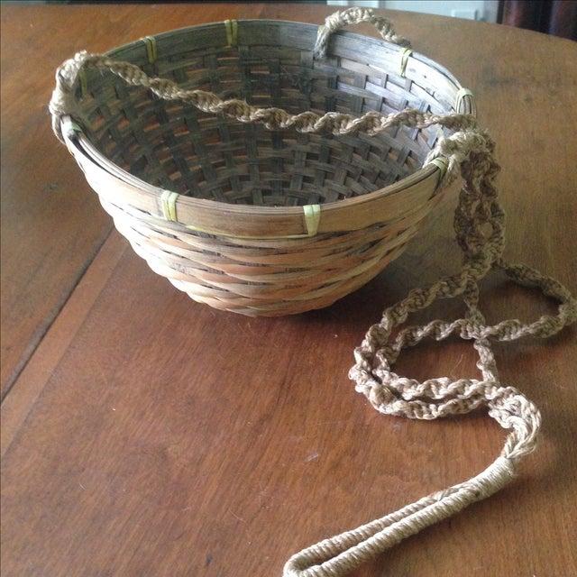 Vintage Hanging Wicker Baskets - Set of 3 - Image 7 of 11