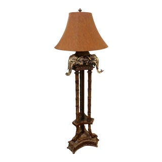 Incredible Faux Bamboo and Elephant Motife Floor Lamp For Sale