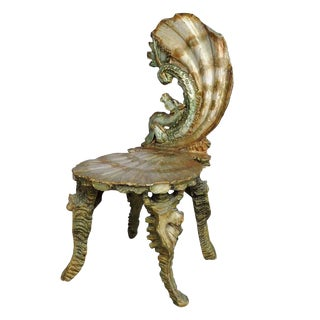 Antique Venetian Carved Grotto Chair Ca. 1880 For Sale