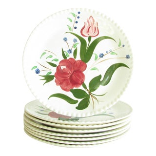 1940s Southern Pottery Blue Ridge Bluebell Bouquet Ironstone Dinner Plates - Set of 8 For Sale