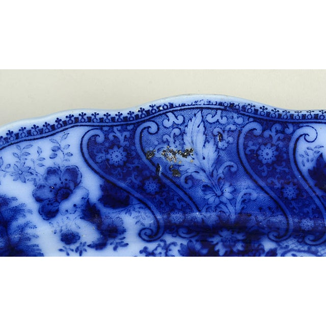 """English Burgess & Leigh Flow Blue 12"""" Oval Serving Platter For Sale - Image 3 of 6"""